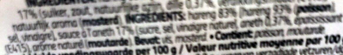 Hareng à l'aneth - Ingrediënten - fr