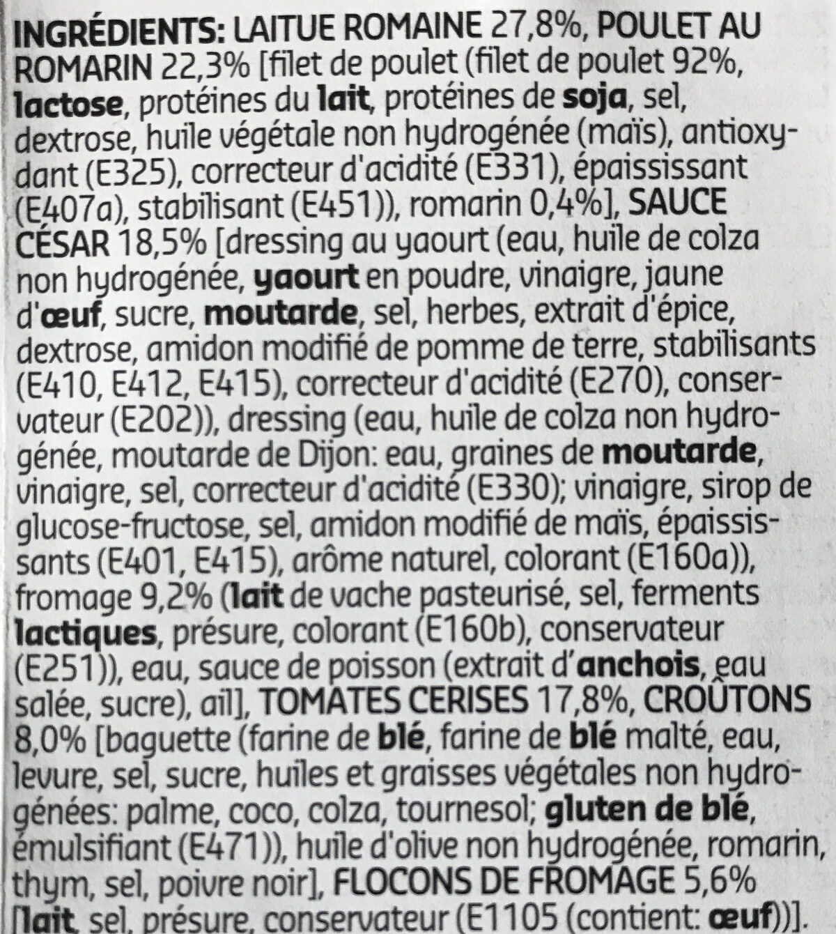 Salade César - Ingrédients