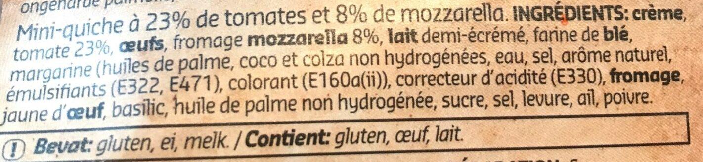 Mini quiche tomate mozarella - Ingredients