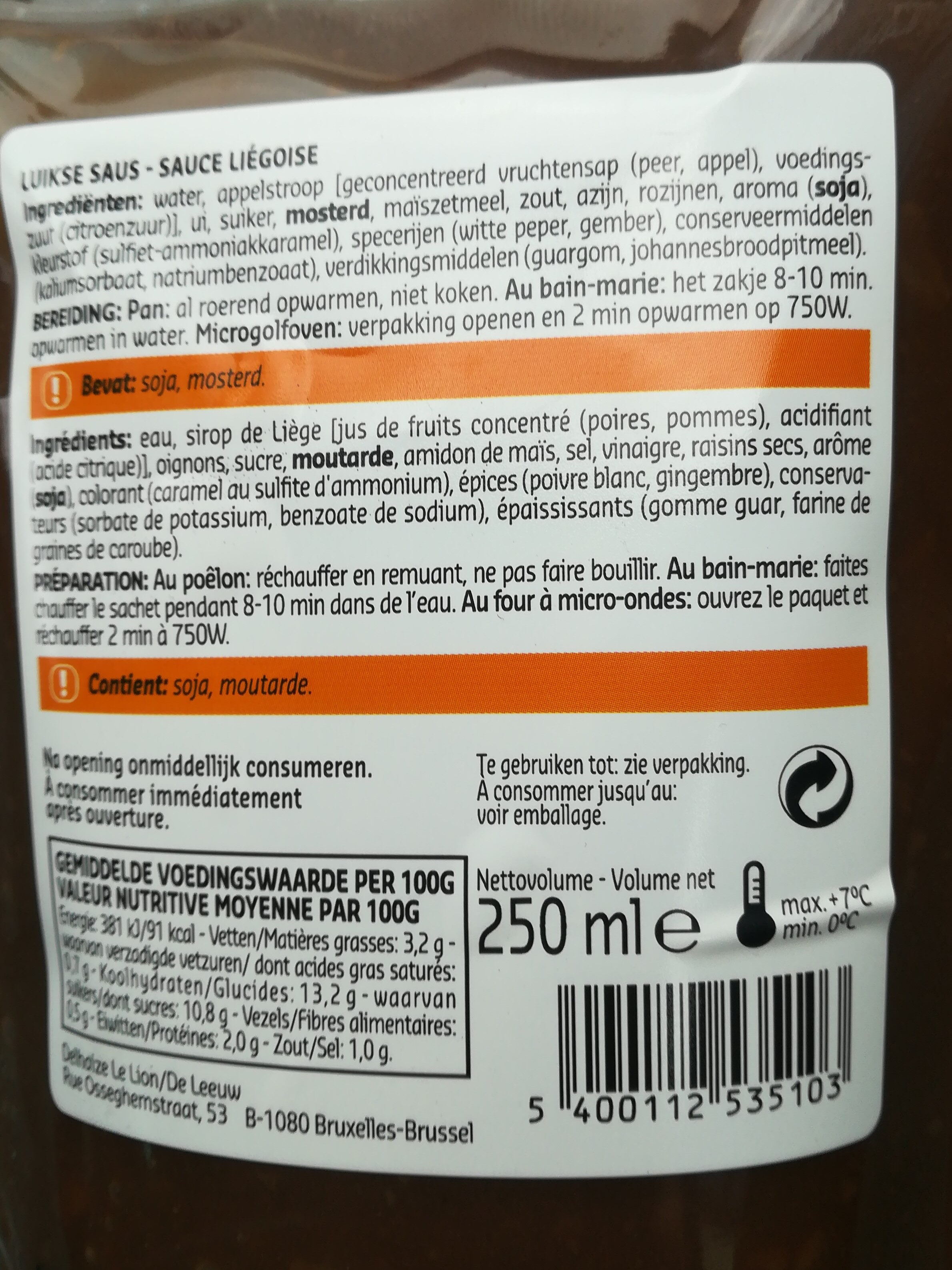 culinary liégeoise sauce - Ingrediënten