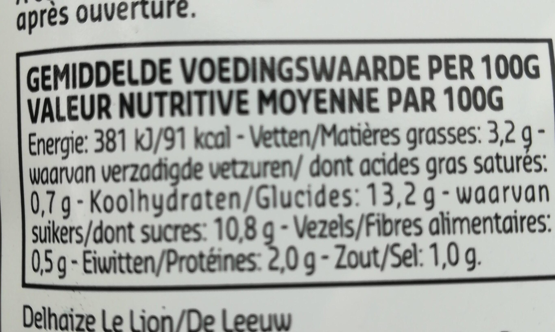 culinary liégeoise sauce - Voedingswaarden