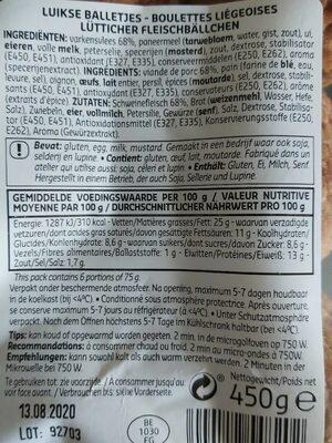 Boulettes liegeoises - Informations nutritionnelles - fr