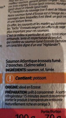 Saumon fume - Ingredients