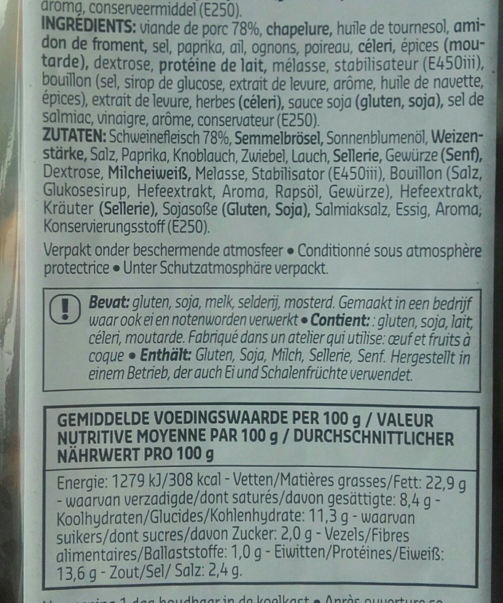 Boulettes orientales - Ingrediënten - fr