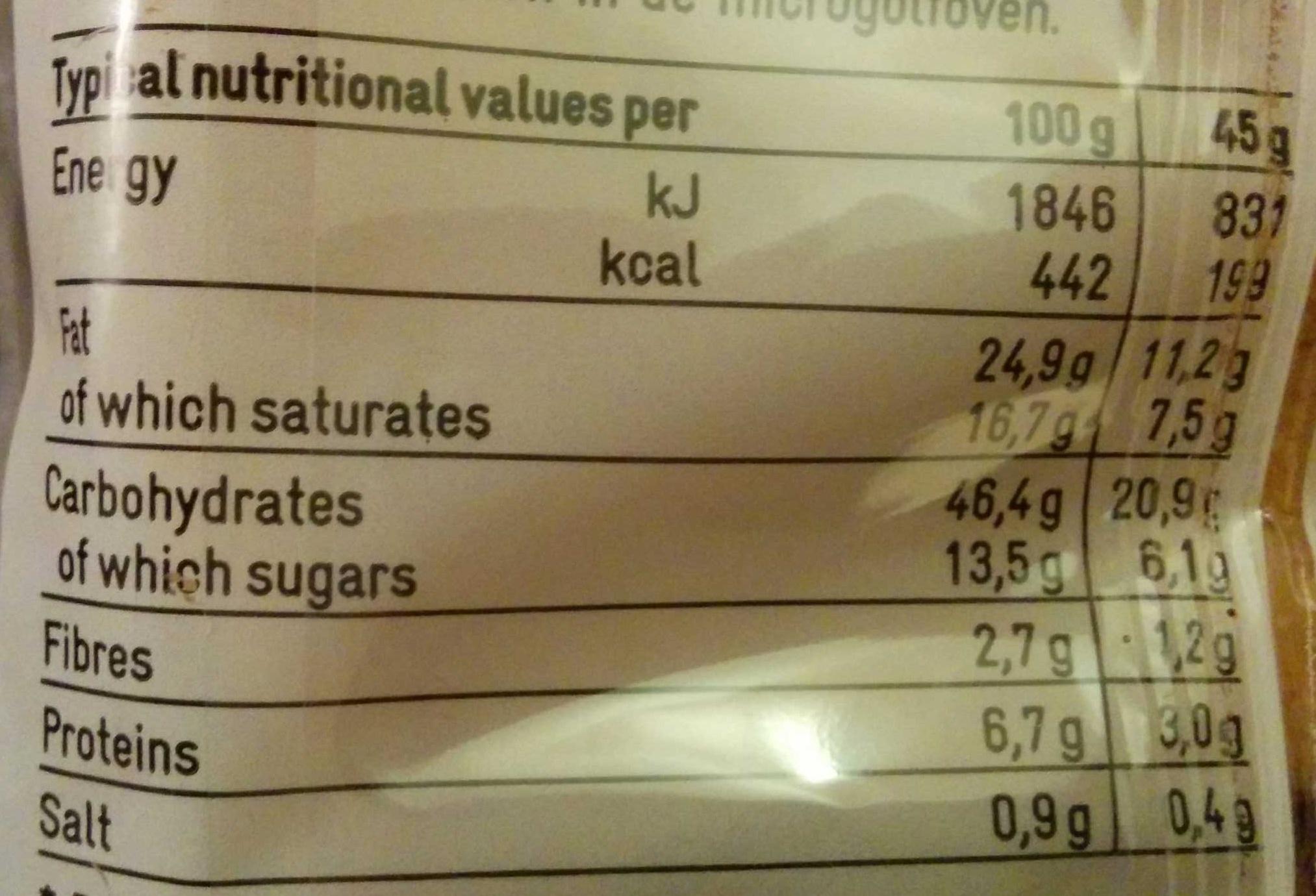 Pains au chocolat (x 6) 270 g - 365 - Nutrition facts