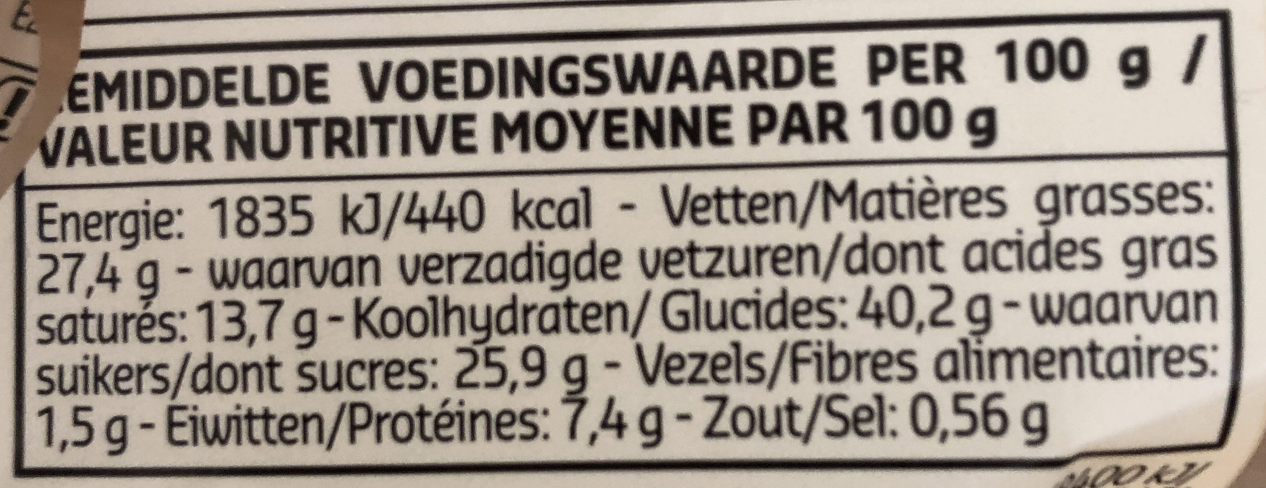 Amandines 100% beurre frais - Voedingswaarden