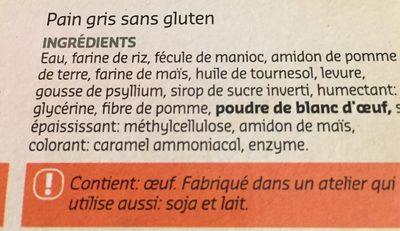 Pain gris sans gluten - Ingrédients