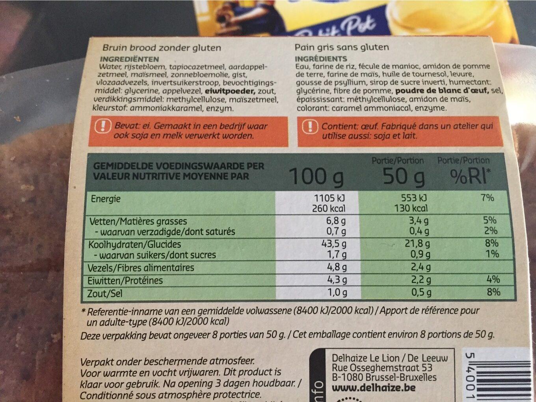 Pain gris sans gluten - Informations nutritionnelles
