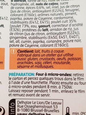 Poulet au beurre - Ingrédients - fr