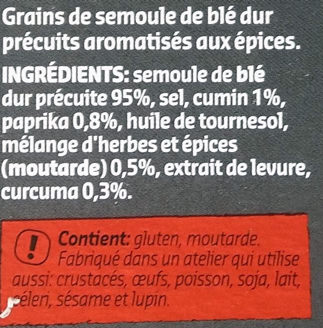 Couscous aux épices - Ingrédients