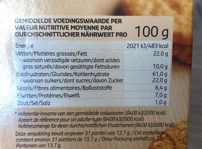 Biscuit aux flocons d'avoine - Voedingswaarden