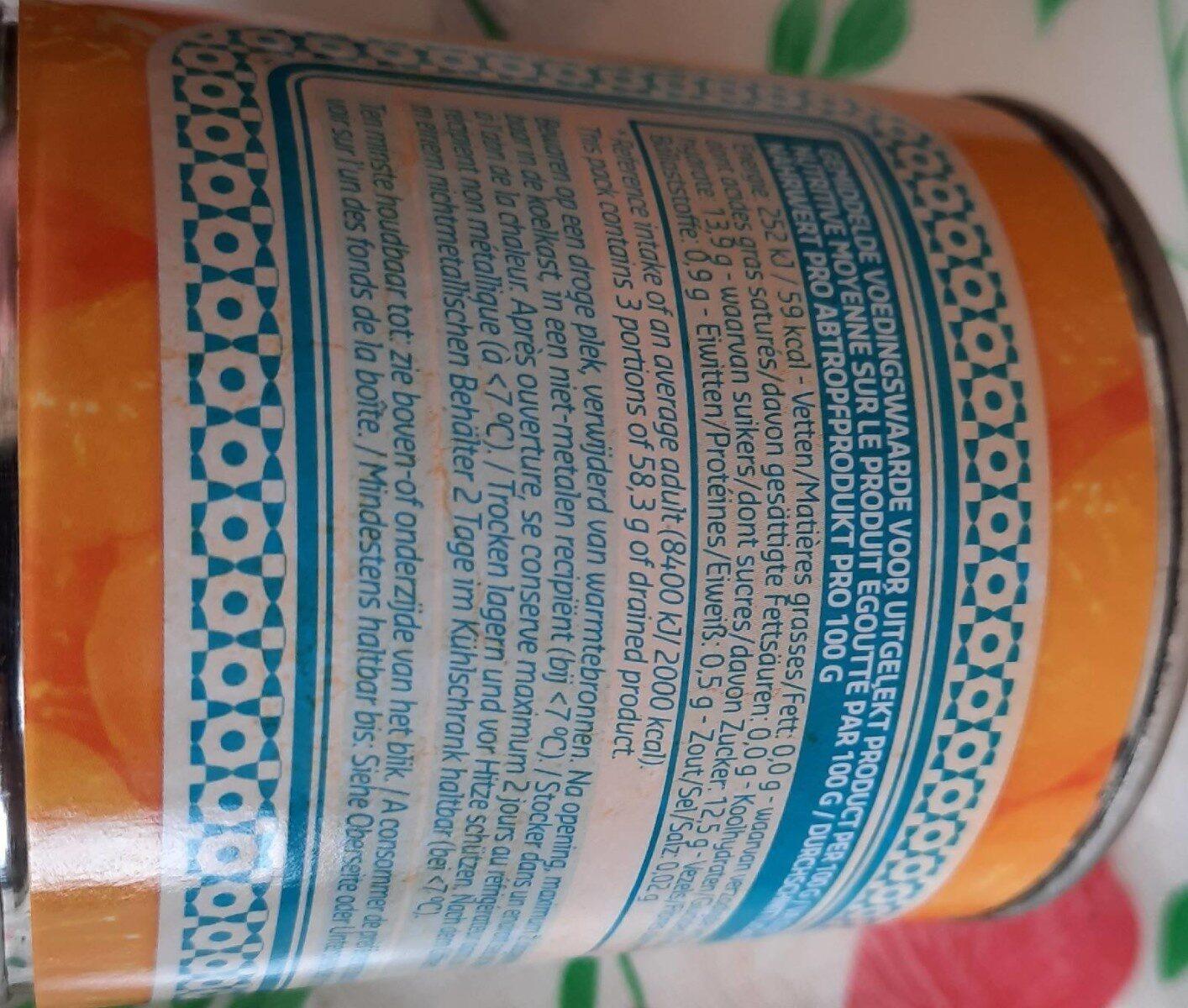 Mandarine au sirop - Informations nutritionnelles - fr