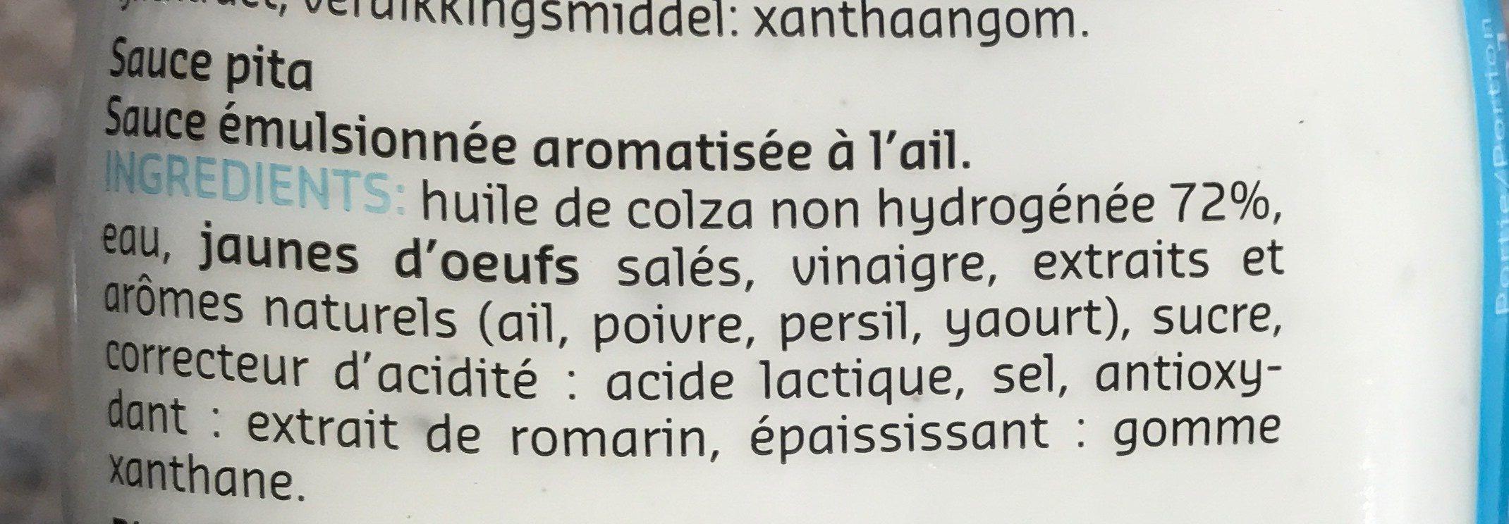 Pita Sauce - Ingrediënten - fr