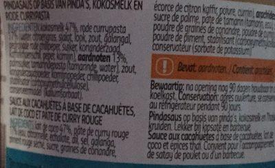 Satay sauce - Ingrédients - fr