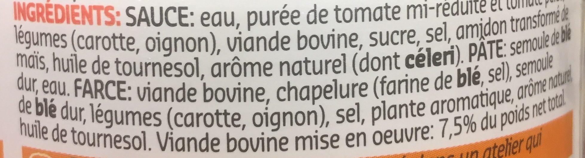 Ravioli Pur Boeuf - Ingrediënten - fr