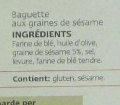 Gressins au sésame - Ingrédients