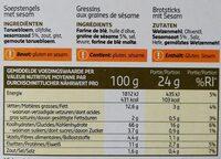 Gressins au sésame - Informations nutritionnelles - fr