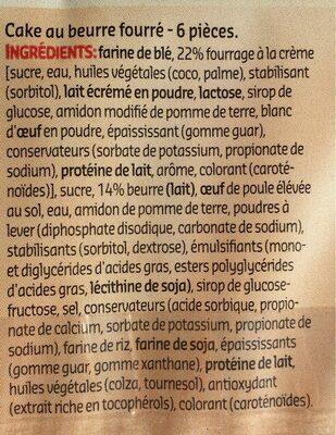 Cake au beurre fourré - Ingrediënten