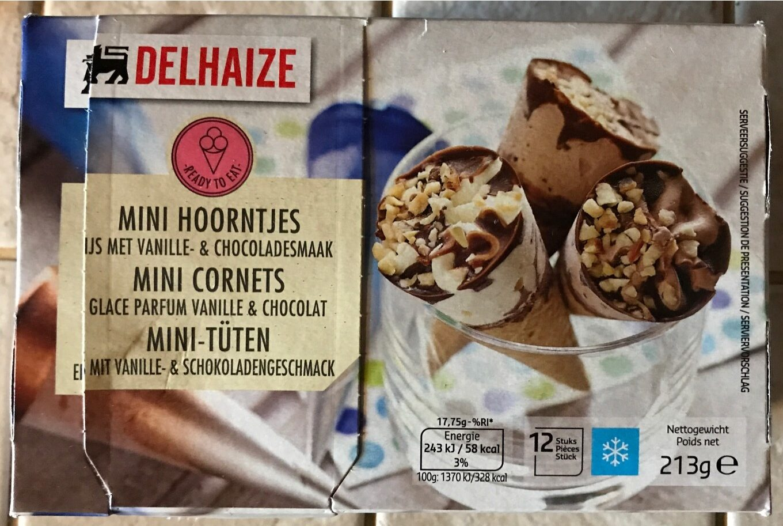 Mini cornets, glace parfum vanille et chocolat - Product - fr