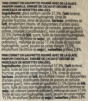 Mini cornets, glace parfum vanille et chocolat - Ingrediënten - fr