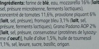 Pizza aux 4 fromages - Ingrédients