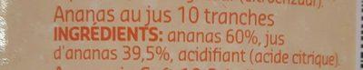 Ananas au jus en tranches - Ingrediënten