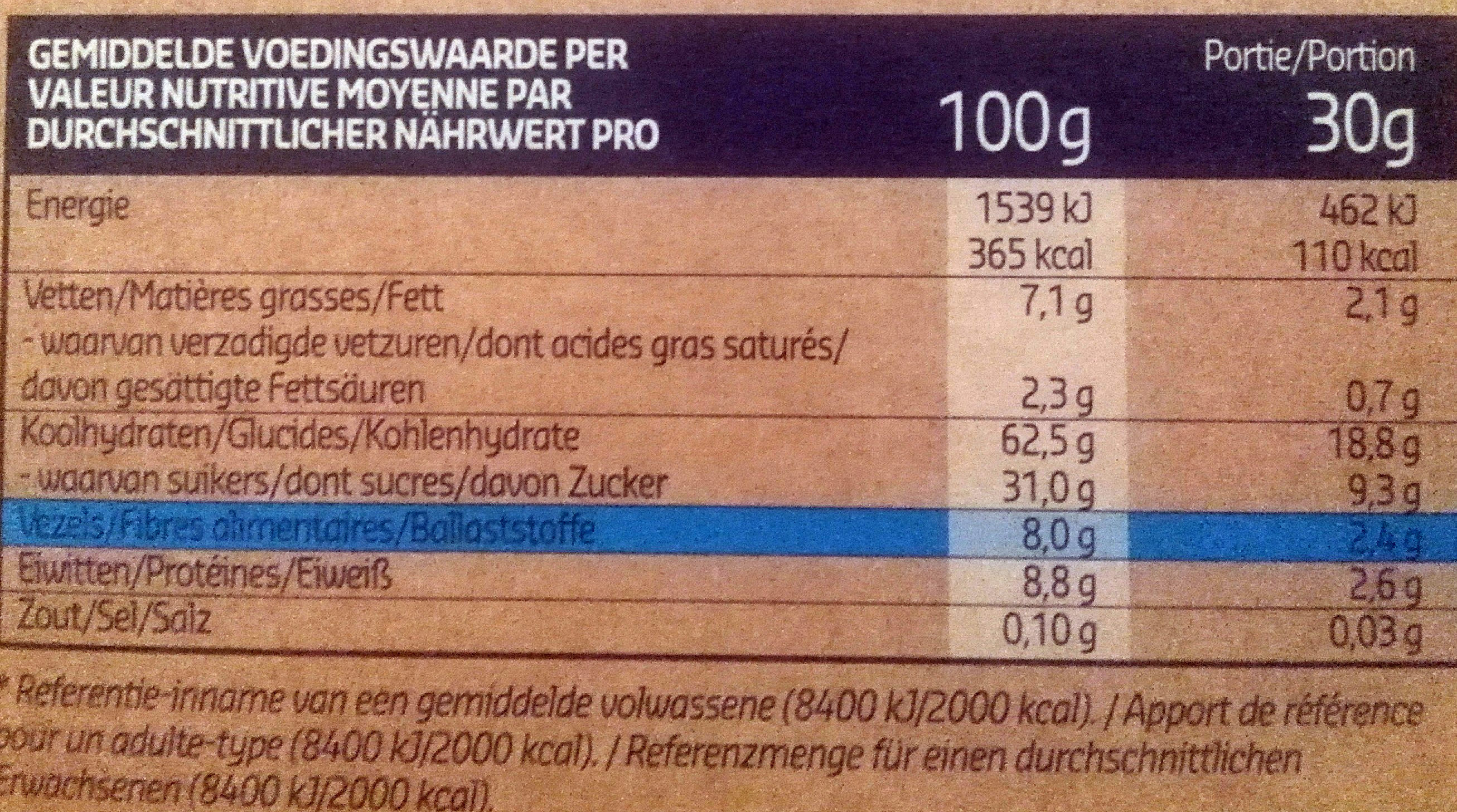 Muesli Dry Fruits - Voedingswaarden - fr