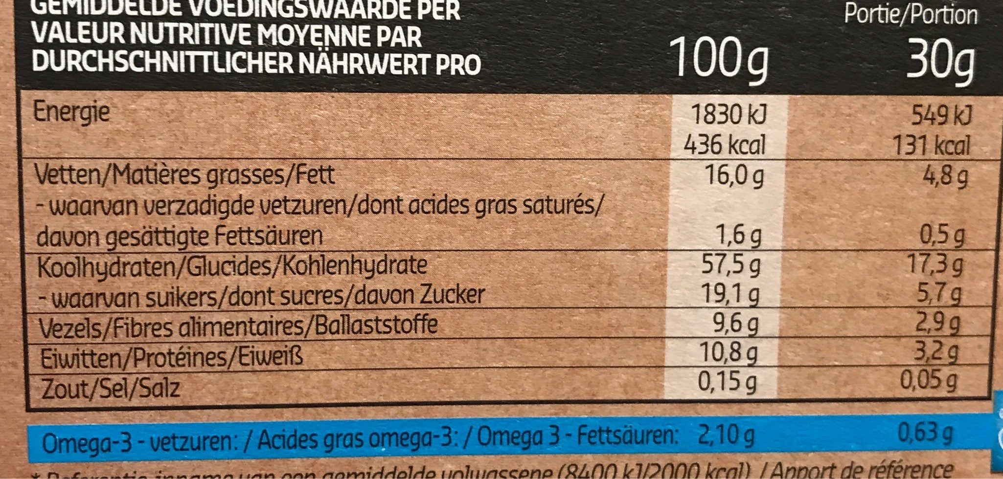 Crunchy muesli amandes et myrtille - Informations nutritionnelles - fr