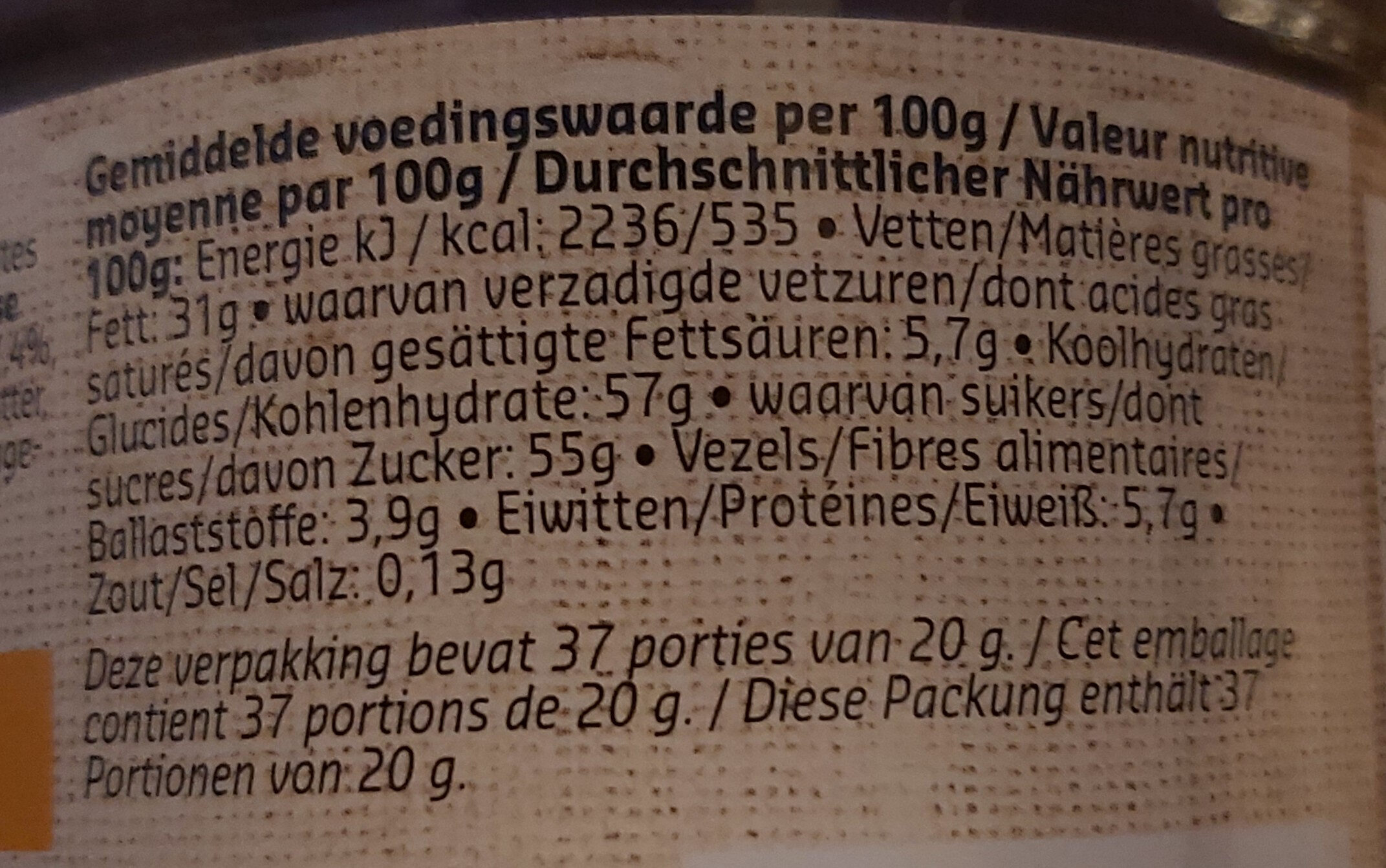 Choco DELHAIZE - Nutrition facts - fr