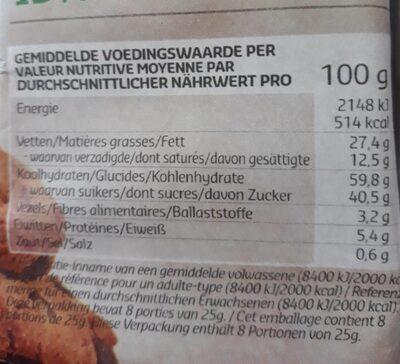 Cookies coeur fondant - Voedingswaarden - fr