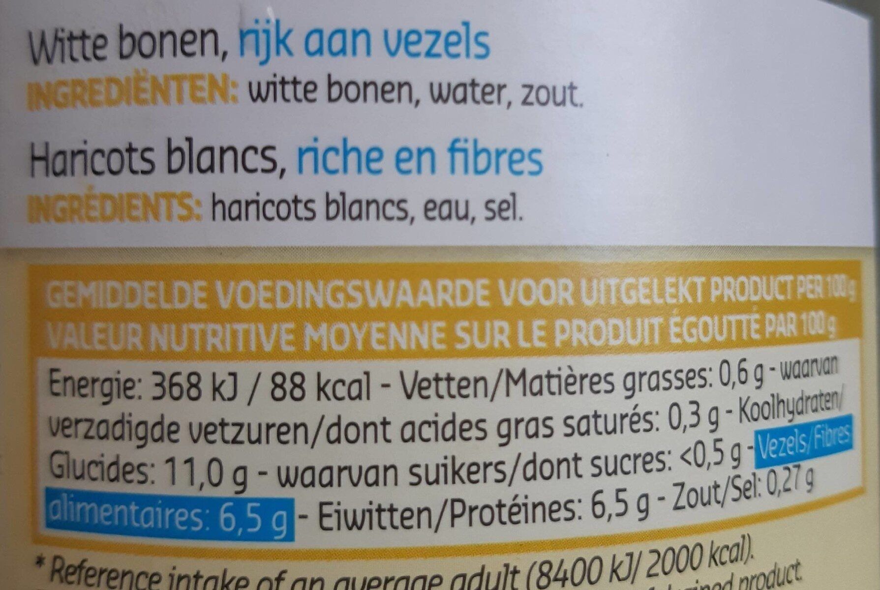 Haricots blancs - Voedigswaarden