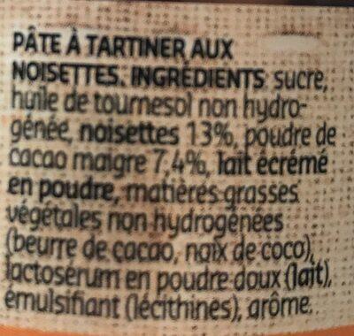 Pâte à tartiner aux noisettes  sans huile de palme - Ingrediënten