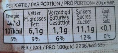 Pâte à tartiner aux noisettes  sans huile de palme - Voedingswaarden
