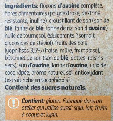 Crunchy muesli fruits des bois à la stevia - Ingrediënten - fr