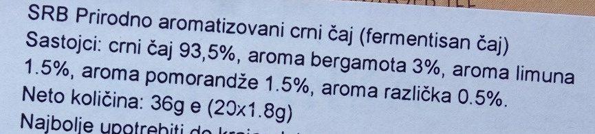 Russian earl grey Sri Lanka - Ingredients - sr