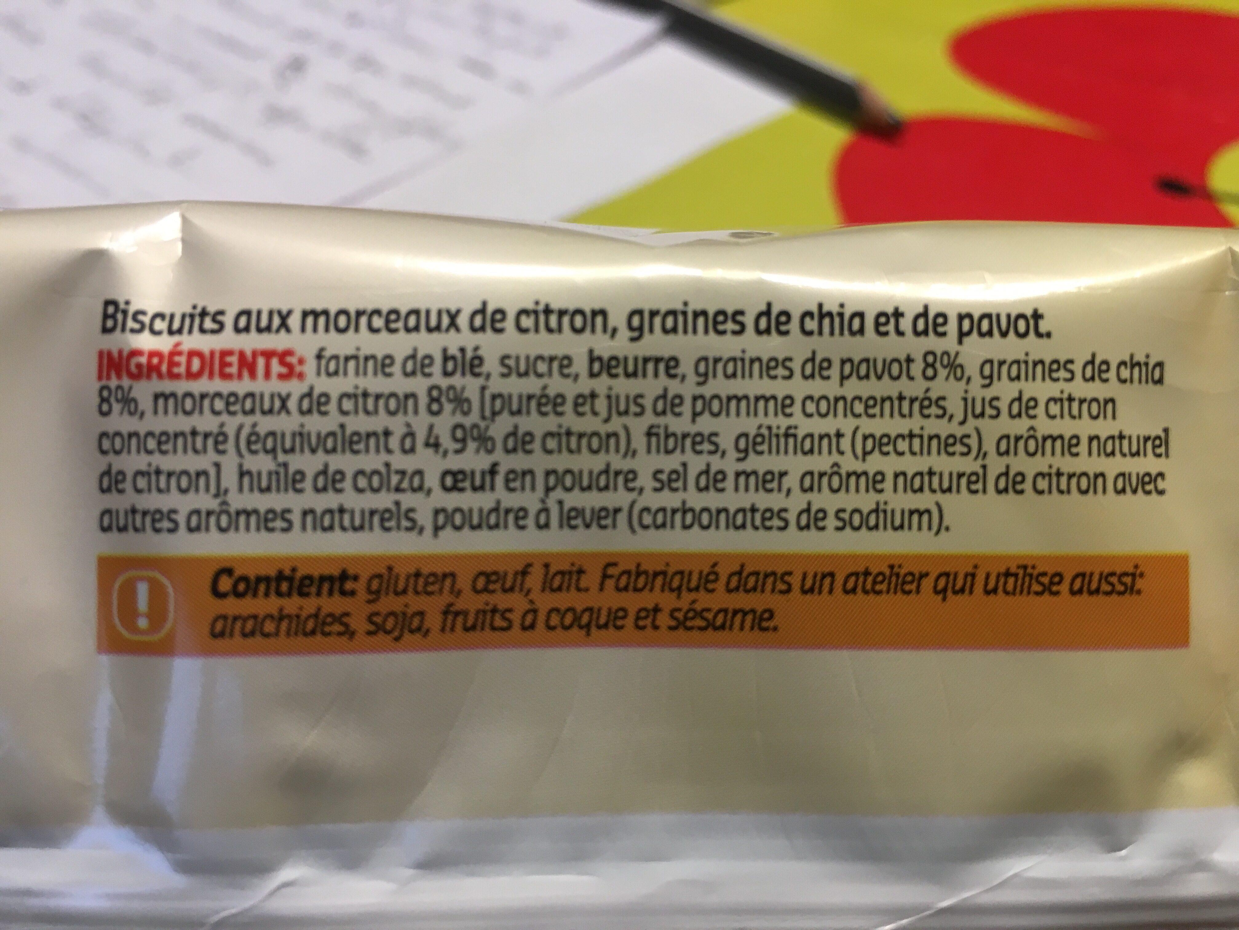 Cookies SuperFruit (citron, graines de pavots et de chia) - Ingredienti - fr