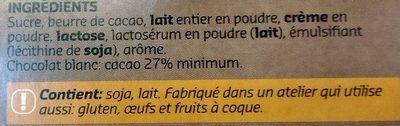 Chocolat Blanc - Ingrédients - fr
