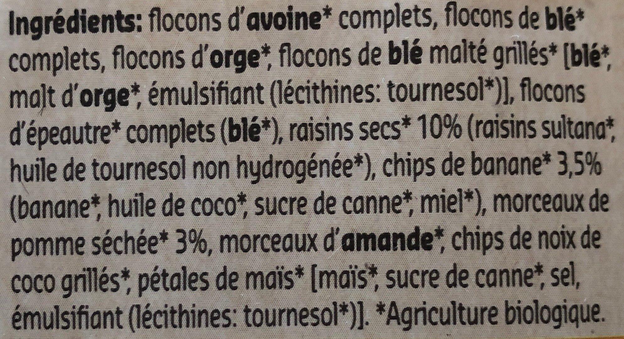 Muesli Pomme & Banane - Ingrediënten - fr
