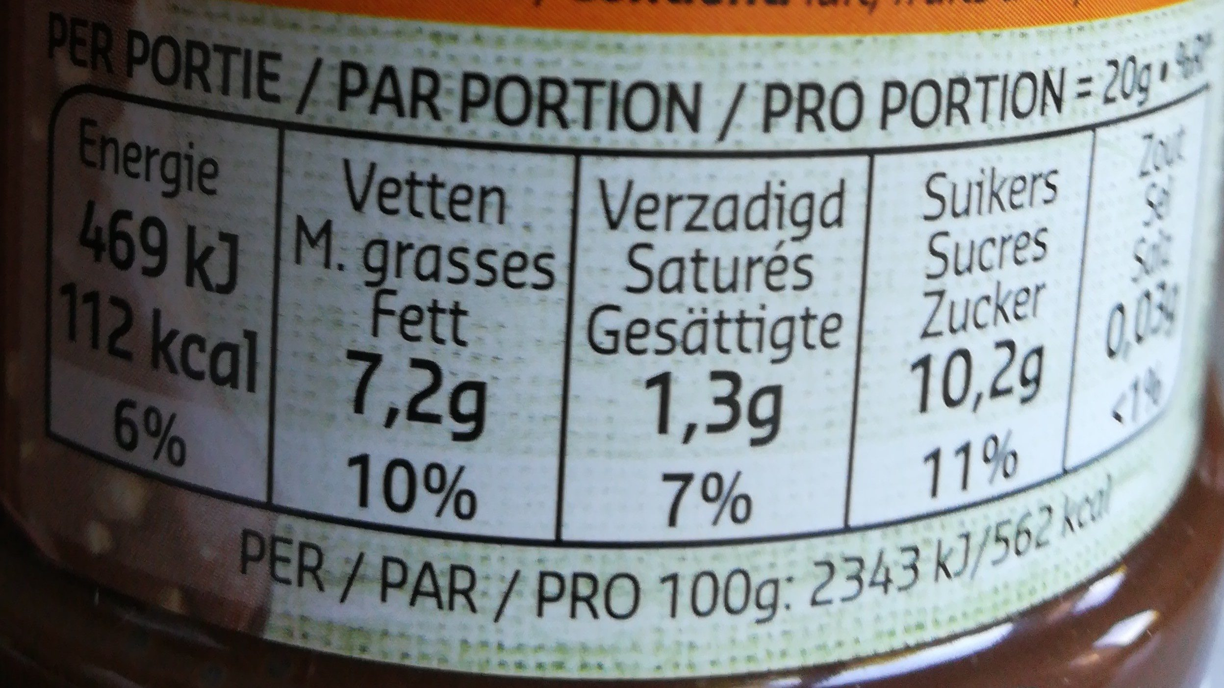 Pâte à tartiner crunchy - Nutrition facts