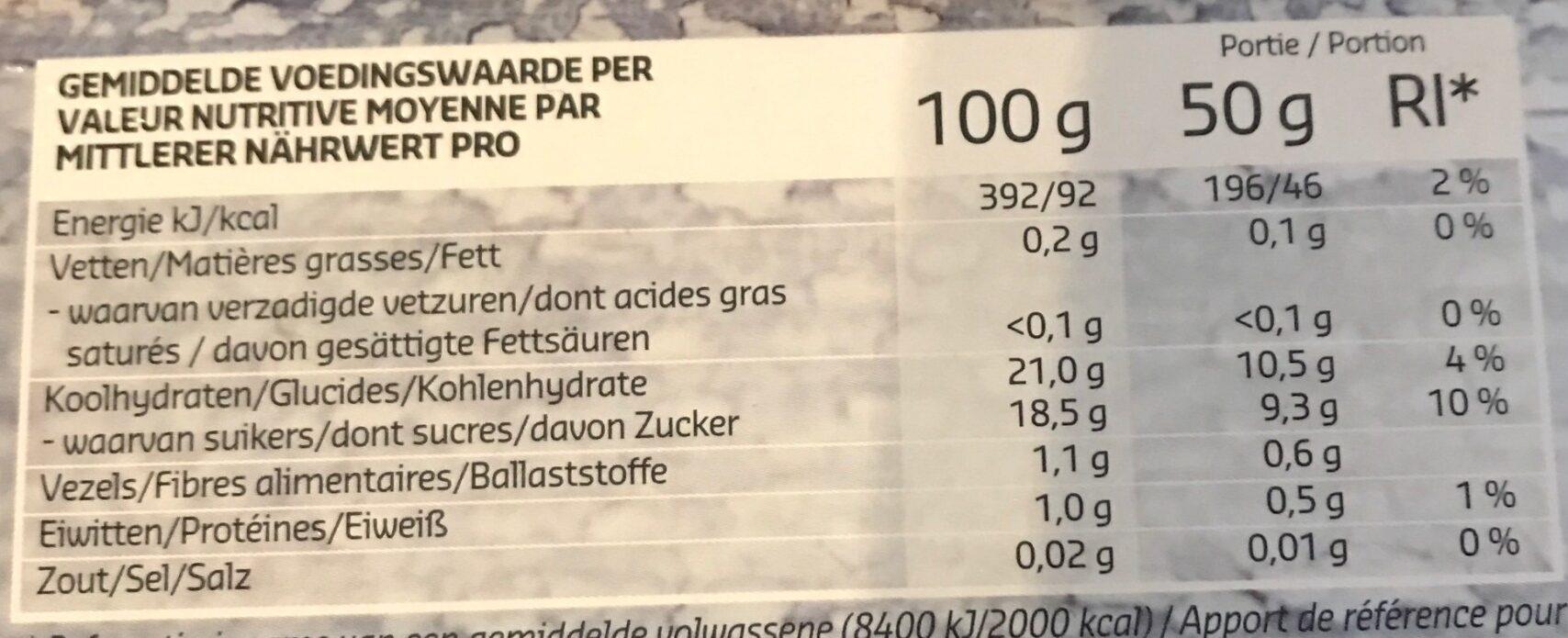 Framboise coulis - Voedingswaarden - fr