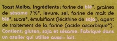 Melba toast - Ingrédients - fr