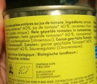 Tomates pelées entières - Ingrédients