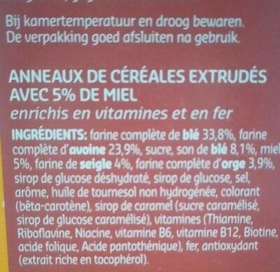 Honey Rings Céréales - Ingrédients - fr