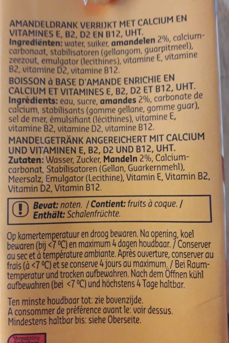 Lait d'amande - Ingredients
