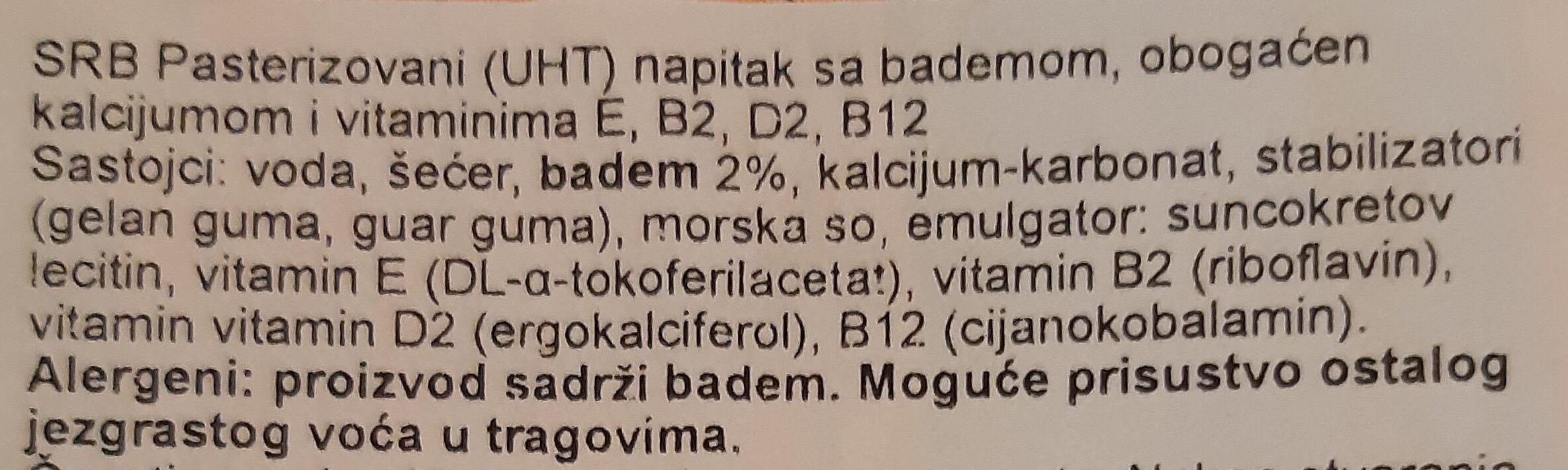 Lait amande - Ingredients - sr