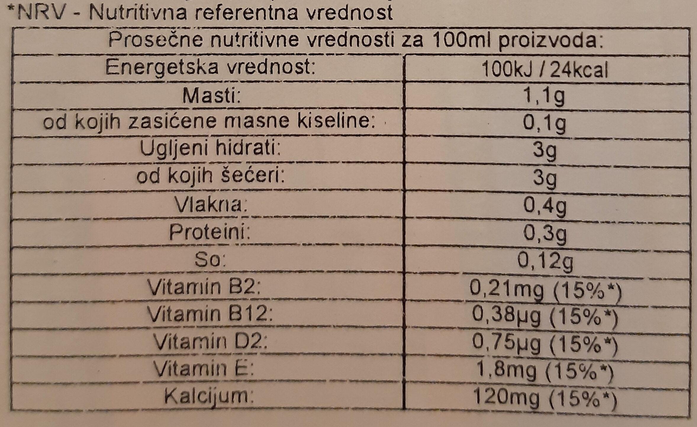 Lait amande - Nutrition facts - sr