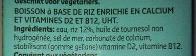 Lait de riz - Ingredients