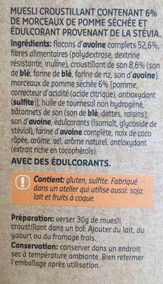Crunchy muesli - Ingrediënten - fr