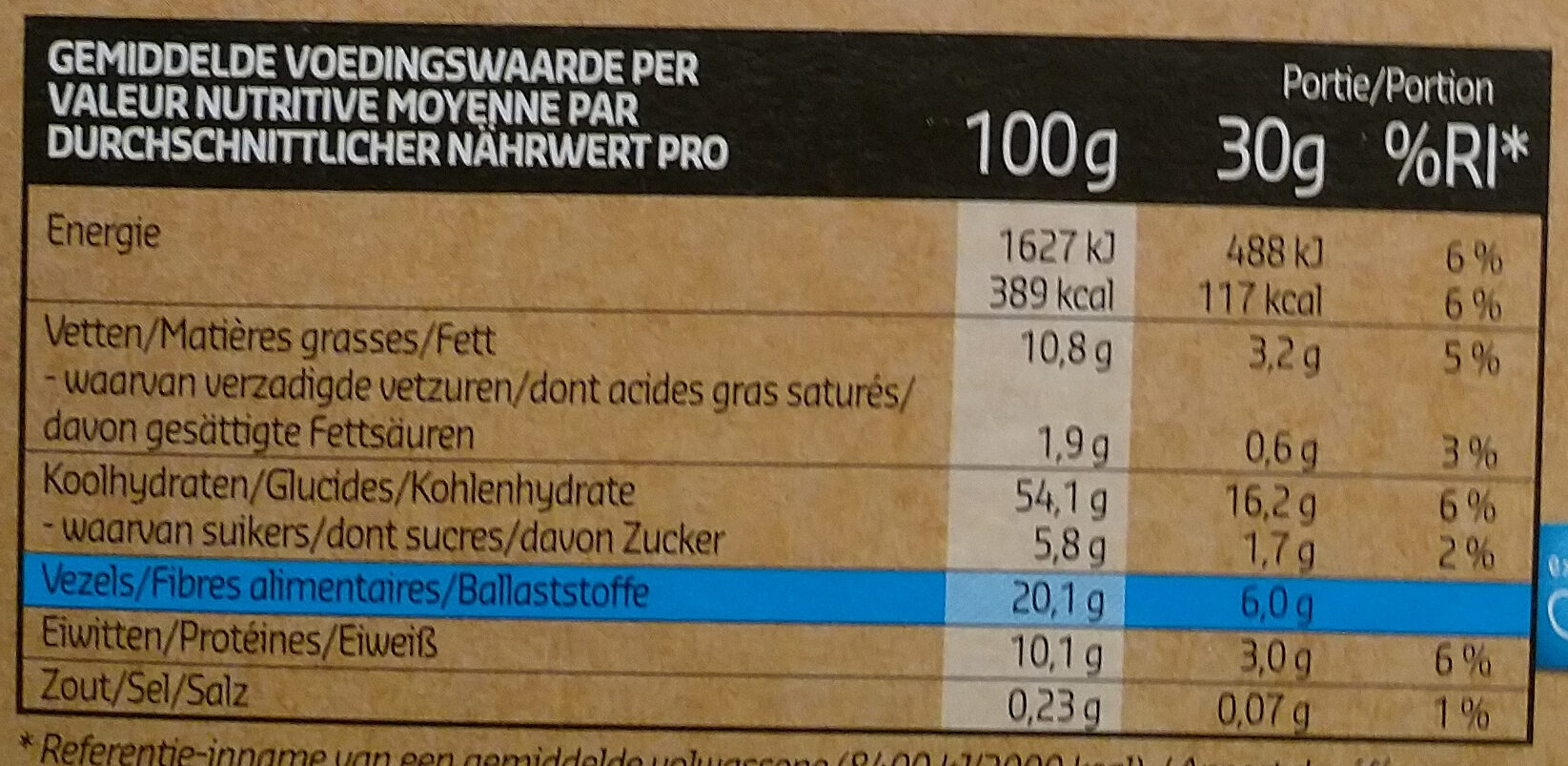 Crunchy muesli - Voedingswaarden - fr