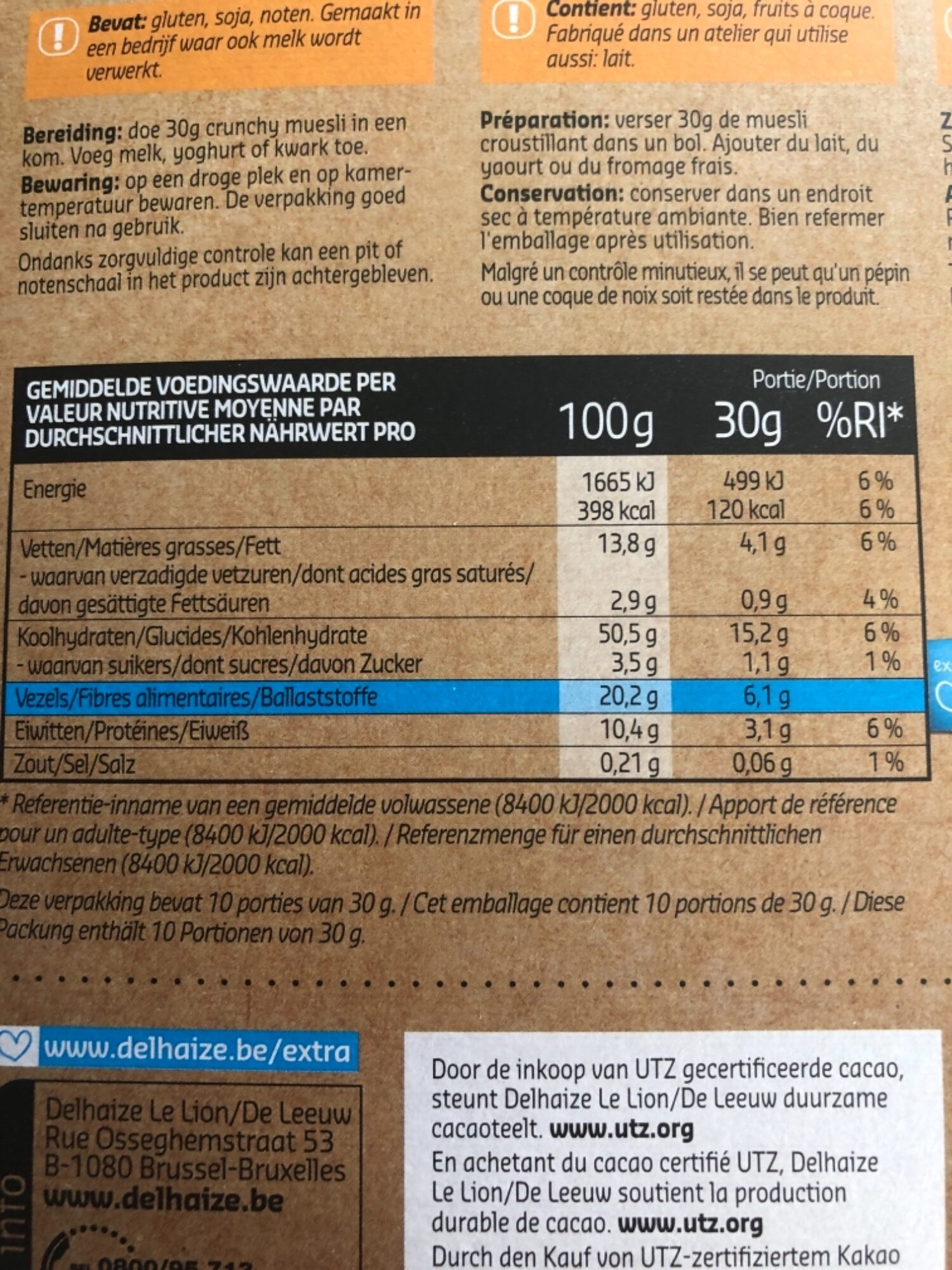 Crunchy muesli - Voedigswaarden